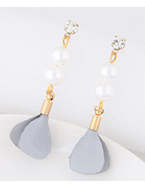 Elegant Gray Pearl&diamond Decorated Flower Pure Color Earrings