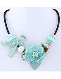 Elegant Blue Flower Deocrated Color Matching Simple Necklace