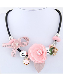 Elegant Pink Flower Deocrated Color Matching Simple Necklace