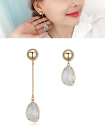 Fashion White Gemstone Decorated Simple Earrings