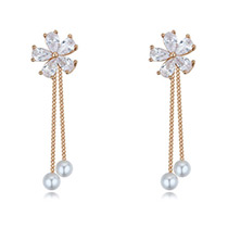 Fashion Gold Color Flower Decorated Long Chain Earrings