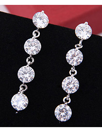 Elegant Zircon Round Shape Diamond Decorated Long Earrings