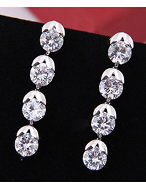 Elegant Zircon Round Shape Diamond Decorated Earrings