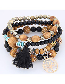 Bohemia Alloy Star & Tassel Decorated Multilayer Bracelet