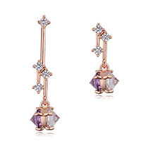 Elegant Zircon Color Matching Decorated Earrings
