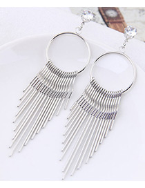 Fashion Silver Color Tassel Decorated Pure Color Earrings
