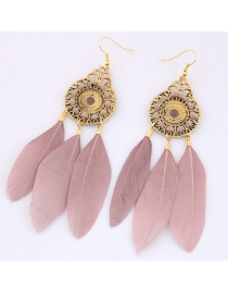 Trendy Pink Feather Decorated Pure Color Earrings