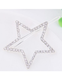 Fashion Silver Color Full Diamond Decorated Star Shape Hairpin