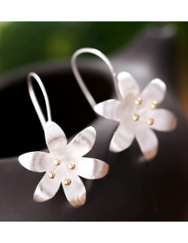 Sweet Gold Color Flowers Decorated Pure Color Simple Earrings