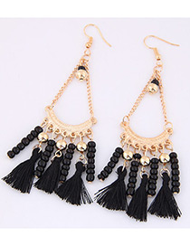 Trendy Black Tassel&beads Decorated Pure Color Earrings