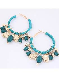 Trendy Blue Bears&beasd Decorated Pure Color Earrings