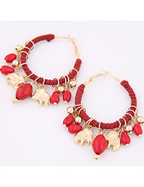 Trendy Red Bears&beasd Decorated Pure Color Earrings