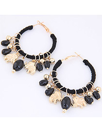 Trendy Black Bears&beasd Decorated Pure Color Earrings