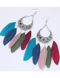 Trendy Multi-color Feather Pendant Decorated Simple Earrings