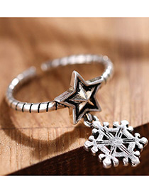 Fashion Antique Silver Snowflake&star Decorated Simple Opening Ring