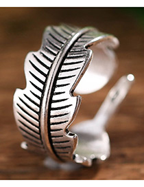 Fashion Antique Silver Feather Shape Decorated Opening Ring