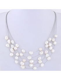 Fashion White Pearls Decorated Multi-layer Necklace