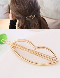 Fashion Gold Color Lip Shape Decorated Pure Color Hairpin