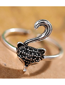 Fashion Antique Silver Fox Shape Decorated Pure Color Opening Ring