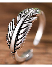 Fashion Antique Silver Feather Shape Decorated Pure Color Opening Ring