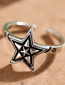 Fashion Antique Silver Star Shape Decorated Pure Color Opening Ring