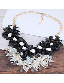 Fashion Golden Color Small Grape Resin Alloy Maple Leaf Necklace