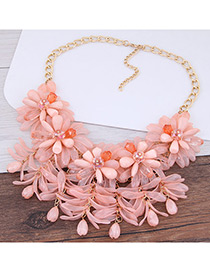 Fashion Pink Flower Shape Decorated Pure Color Necklace