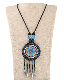 Fashion Blue Bead Pendant Decorated Color Matching Necklace