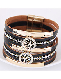 Fahsion Black Diamond Decorated Tree Shape Multi-layer Bracelet