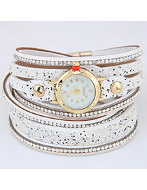 Fahsion White Diamond Decorated Round Dial Multi-layer Watch