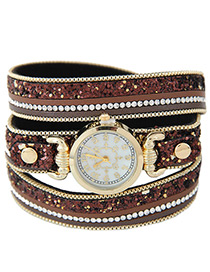 Fahsion Brown Rivet&diamond Decorated Round Dial Multi-layer Watch