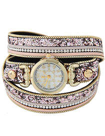 Fahsion Purple Rivet&diamond Decorated Round Dial Multi-layer Watch