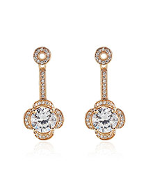 Retro Gold Color Flower Shape Pendant Decorated Simple Earrings