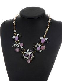 Fashion Purple Oval Shape Gemstone Decorated Short Chain Necklace