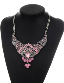 Fashion Pink Heart Shape Decorated Simple Hollow Out Necklace