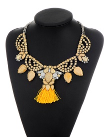 Bohemia Champagne Tassel Decorated Simple Short Chain Necklace