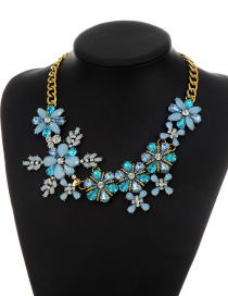 Elegant Blue Flower Decorated Simple Short Chain Necklace