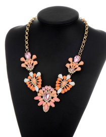 Fashion Multi-color Oval Shape Decorated Simple Short Chain Necklace