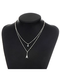 Fashion Silver Color Metal Tower Pendent Decorated Double Layer Necklace