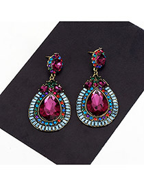 Fashion Multi-color Watedrop Shape Pendant Decorated Simple Earrings