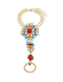 Fashion Blue+red Irregularity Shape Diamond Decorated Simple Anklet