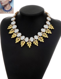 Fashion Yellow Round Shape Gemstone Decorated Simple Short Chain Necklace