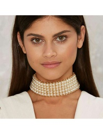 Vintage White Round Shape Decorated Simple Hollow Out Choker