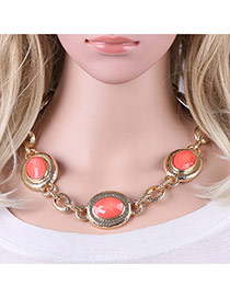Fashion Pink Round Shape Gemstone Decorated Simple Short Chain Necklace