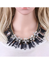 Fashion Black Bullet Pendant Decorated Simple Short Cahin Neckalce