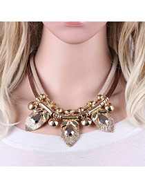 Fashion Gold Color ' Metal Leaf Pandant Decorated Short Chain Neckalce