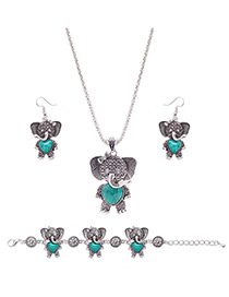Lovely Green Elephant Shape Pendant Decorated Simple Jewelry Sets