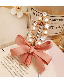 Elegant Pink Bowknot Shape &round Shape Diamond Decorated Simple Hairpin