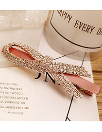 Fashion Pink Bowknot Shape &round Shape Diamond Decorated Simple Hairpin