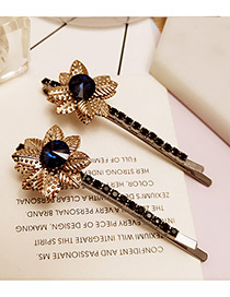 Vintage Blue Flower Decorated Color Matching Simple Hair Pin (2pcs)